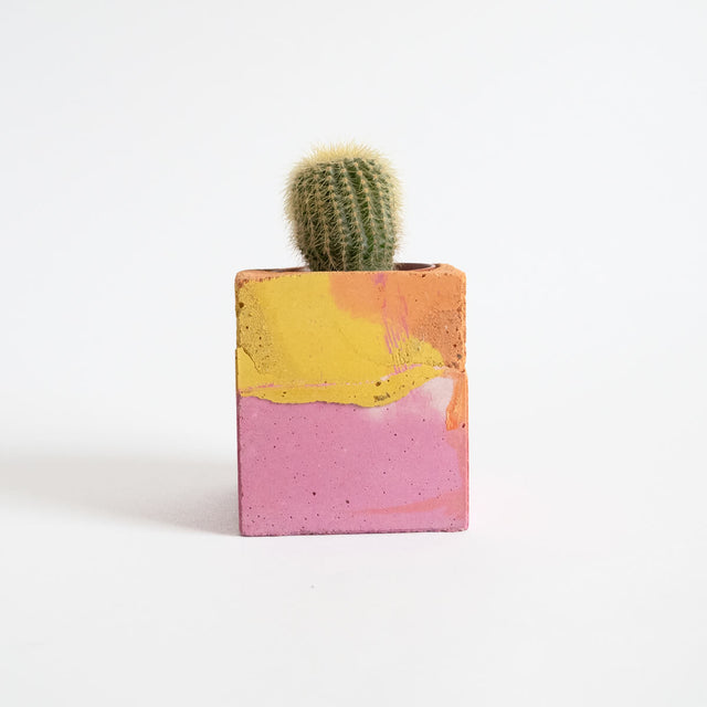 Small Square Planter, Pink and Orange | Curious Makers