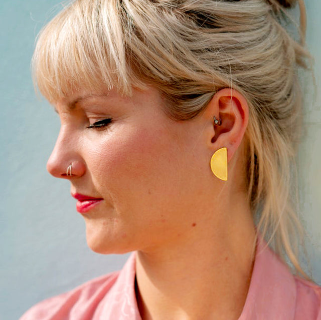 Half Disk Earrings, Brass | Curious Makers