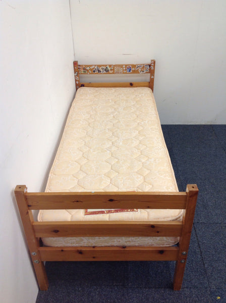 Small Single Wooden Bed With Childrens Stickers