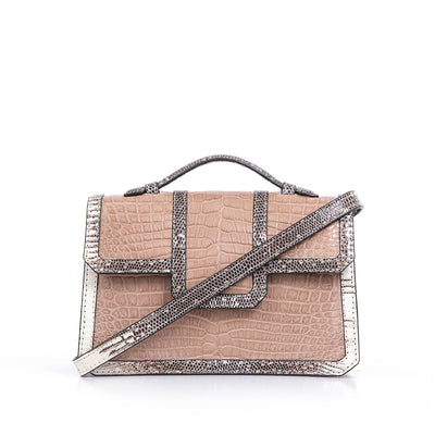 SASCHA BAG  | BEIGE CROC WITH LIZARD