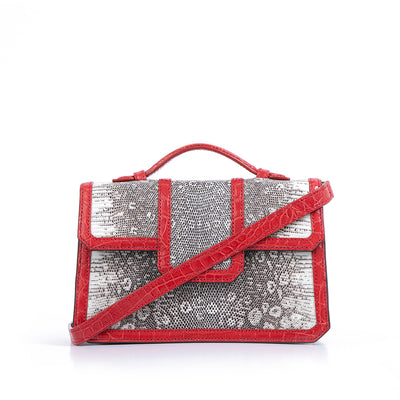 SASCHA  BAG | LIZARD WITH RED  CROC