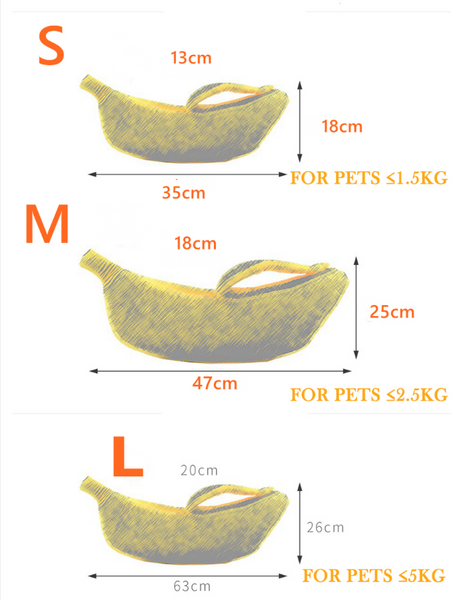Size chart of banana cat bed