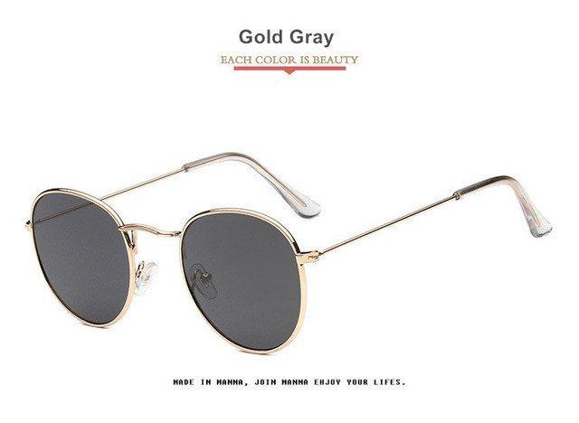 Vintage Circular Frame Sunglasses for Women