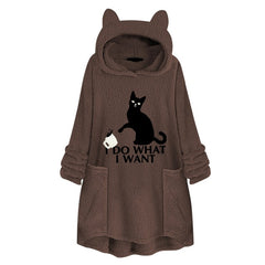 Cat Print Long Hoodies Sweatshirt For Women