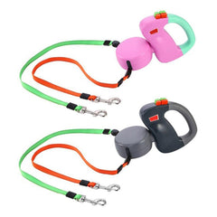 Automatic Retractable Walking Double Lead Leash - Animax Pet Shop