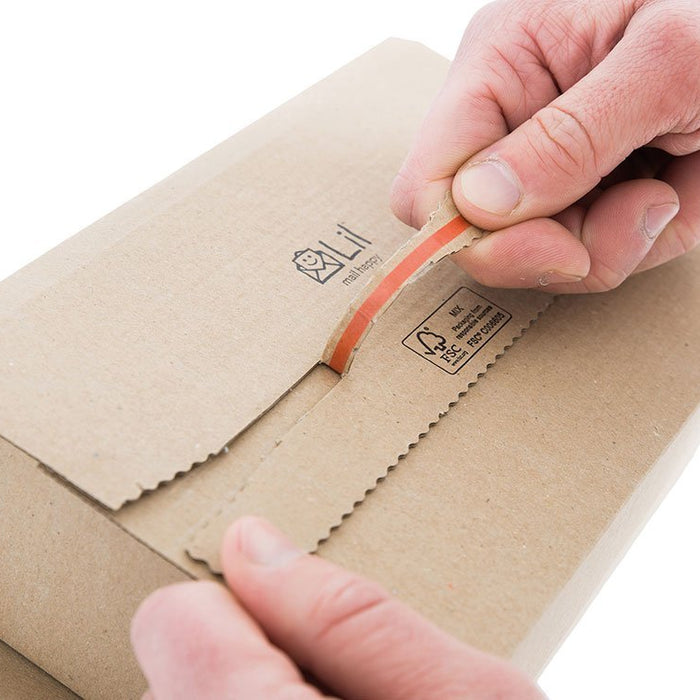 red ripper strip postal packaging easy to use