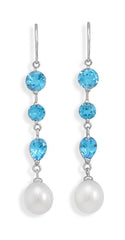 Cultured Freshwater Rice Pearl and Blue Topaz 14K White Gold French Wire Earrings