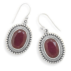 Oxidized Oval Faceted Rough-Cut Ruby Bead Design French Wire Earrings