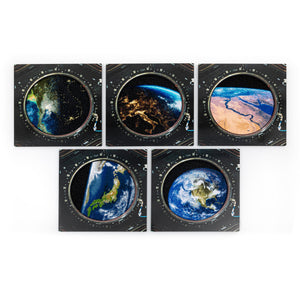 Window with a View – Set of 5 embroidered canvases