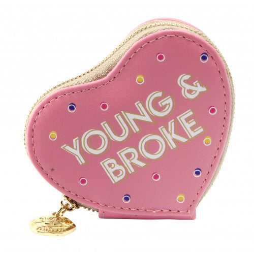 Sweet Tooth Young and Broke Heart Purse