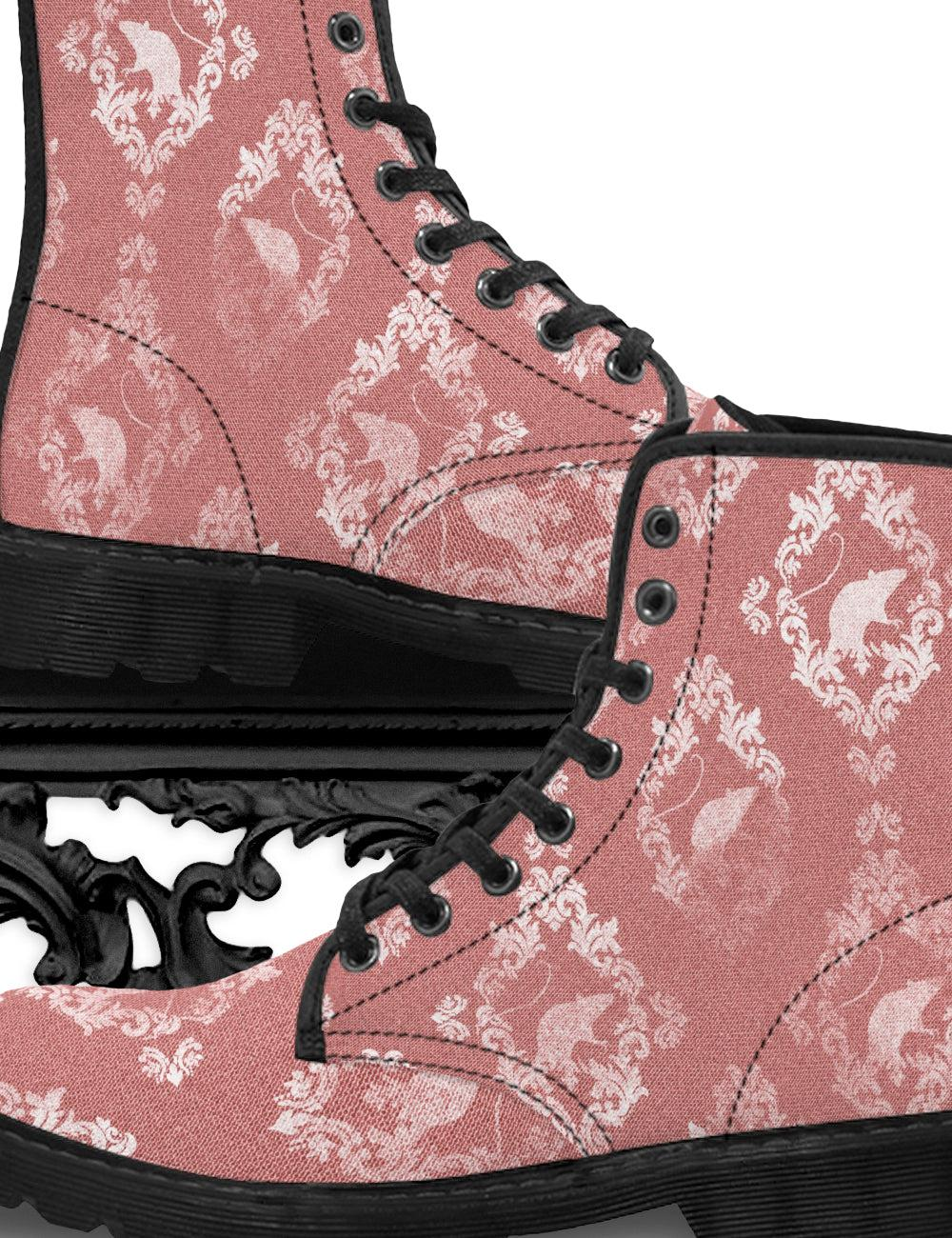 Victorian Rat Canvas Combat Boots in 'Dying Rose' | Gentleman's - The Asylum Emporium