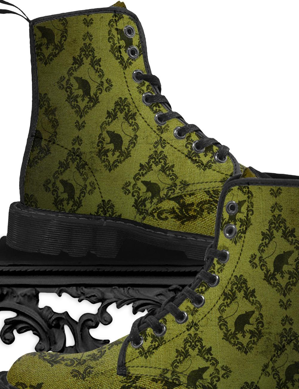 Victorian Rat Canvas Combat Boots in 'Stockill' | Gentleman's - The Asylum Emporium