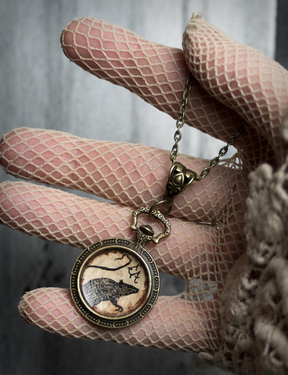 """Rat Silhouette"" Handmade Necklace, Limited Edition of 25 (*2* Left!)"