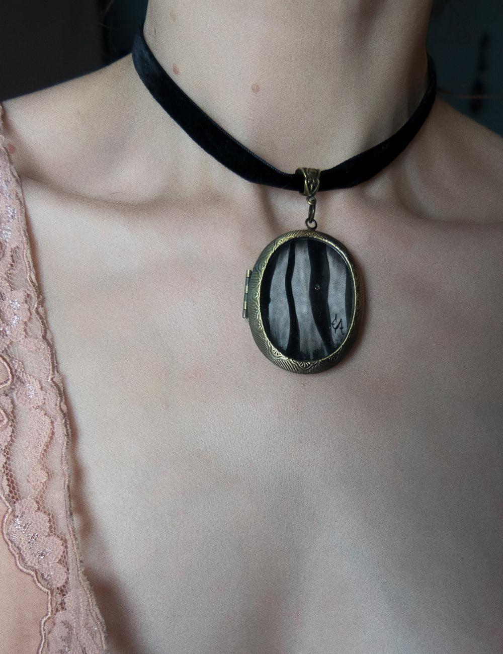 """Striped Asylum Wallpaper"" Handmade Locket Necklace, Limited Edition of 20"