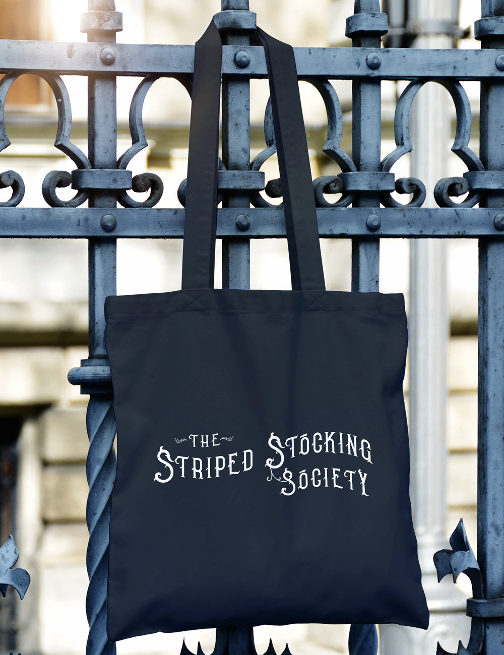 """Striped Stocking Society"" Cotton Canvas Book Bag"