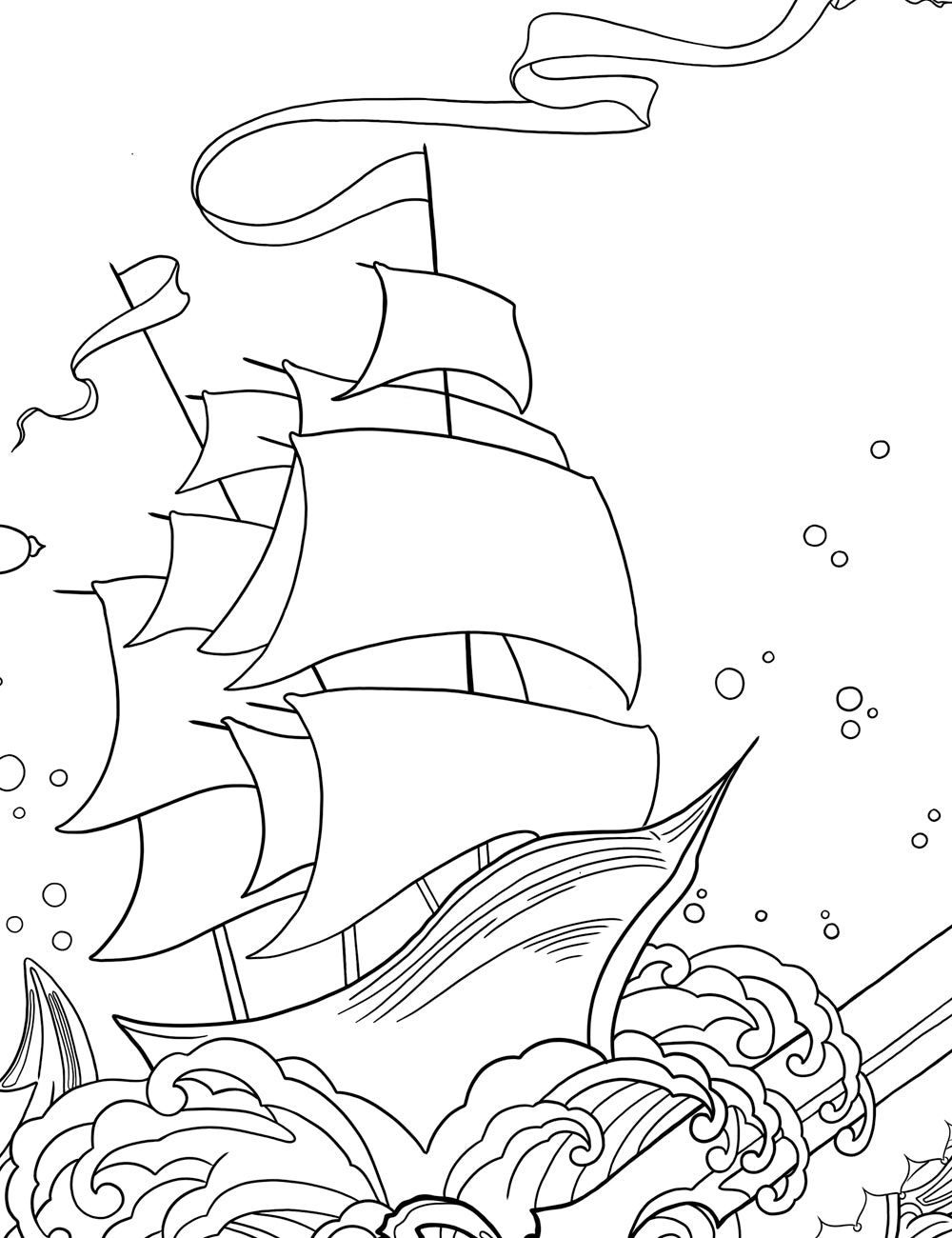 Asylum Coloring Book Page: Captain's Ship