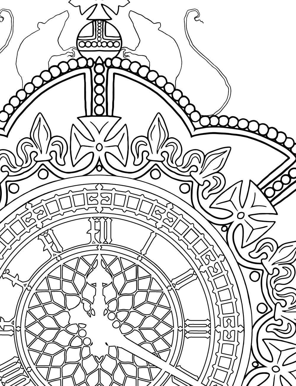 Asylum Coloring Book Page: Clock Crowns