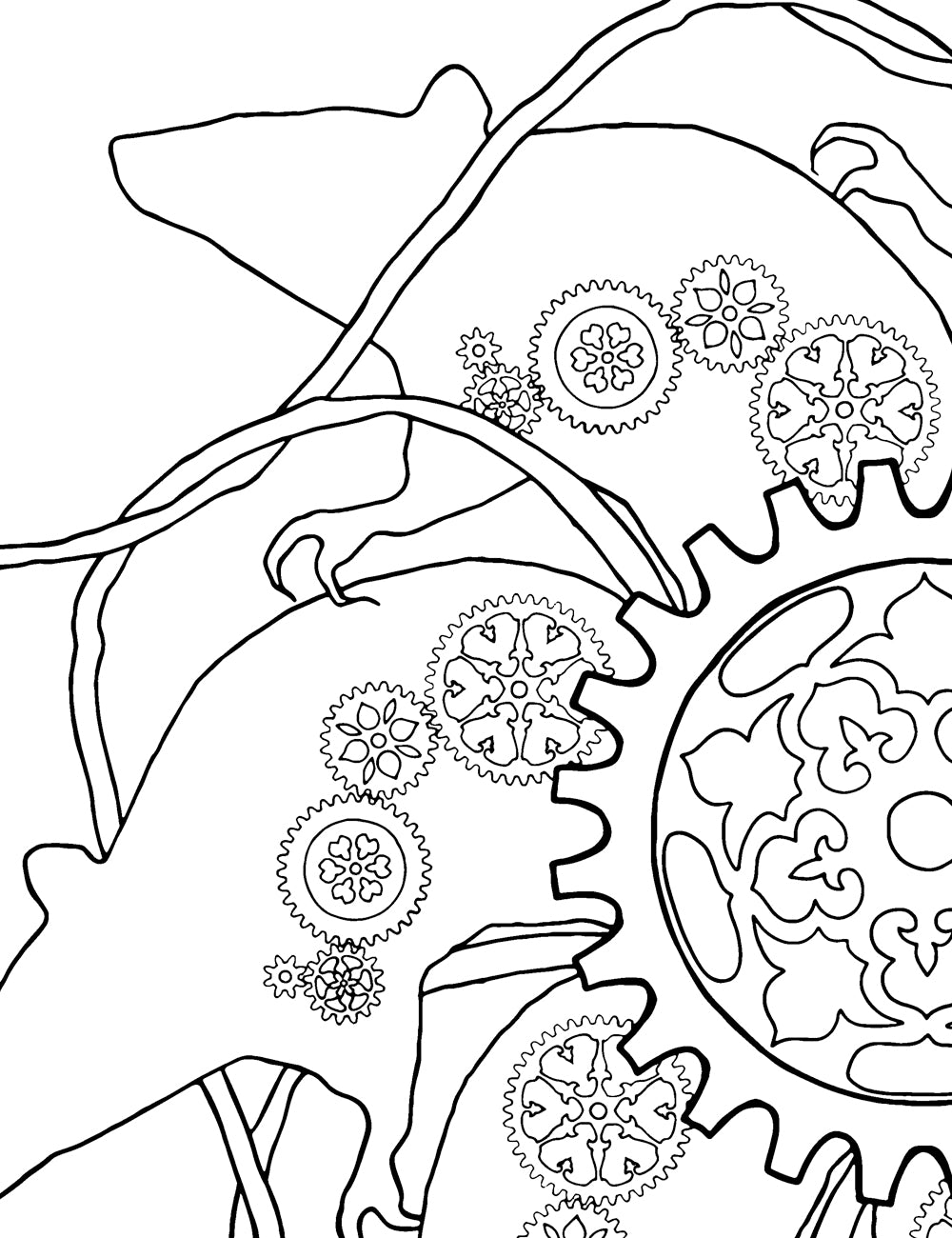 Asylum Coloring Book Page: Clockwork Rats