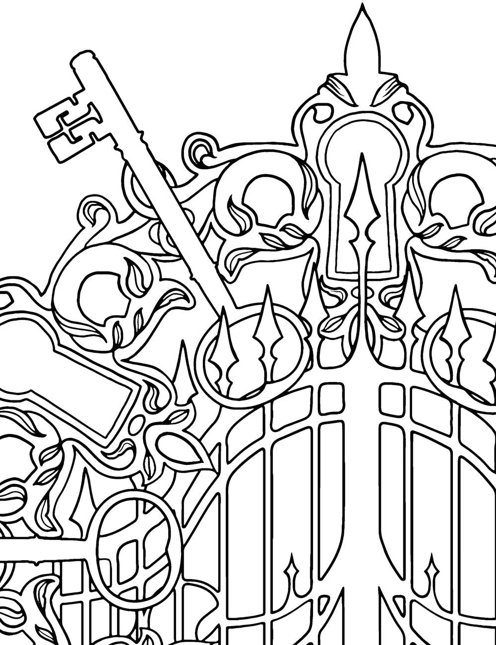 Asylum Coloring Book Page: Gate Keys
