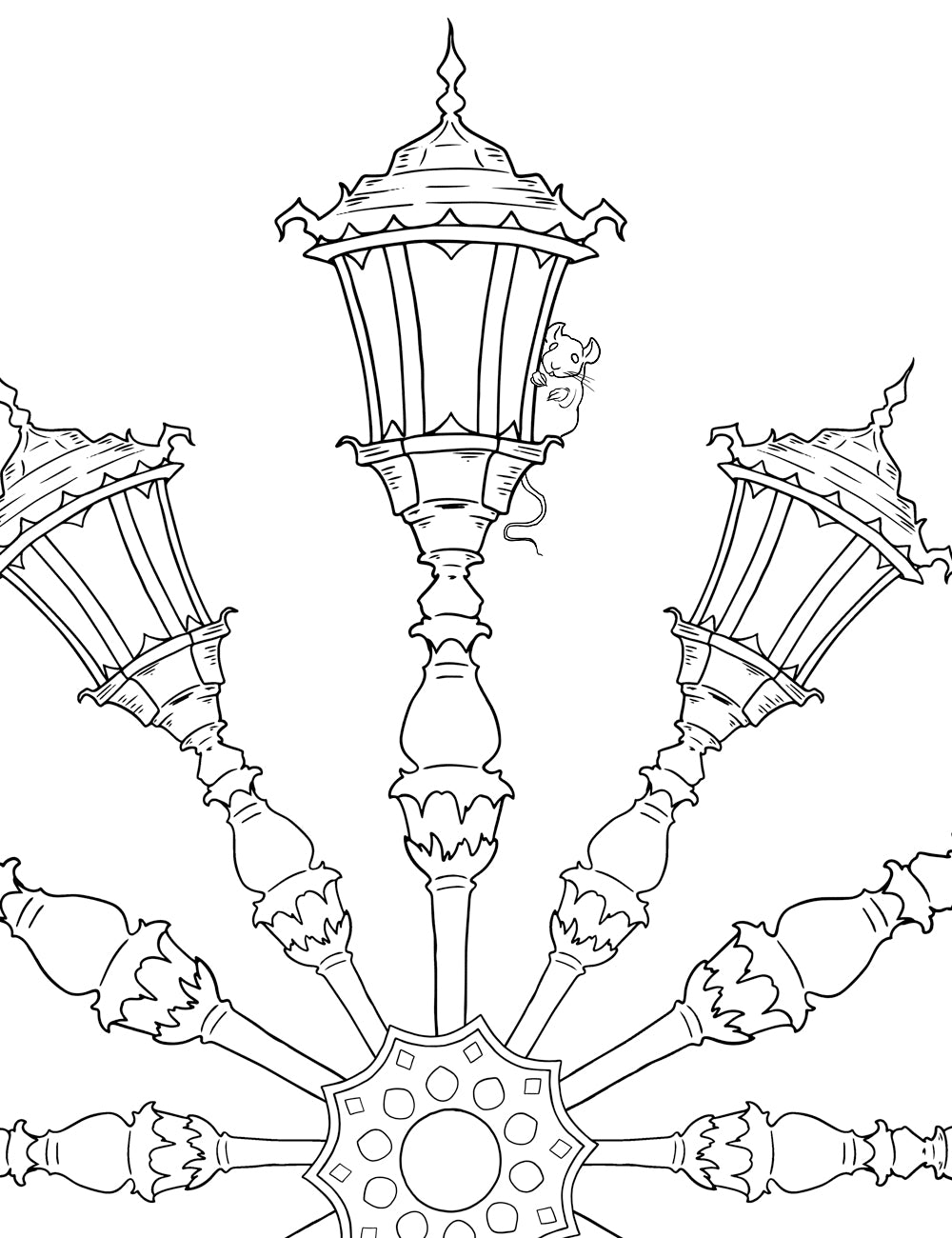 Asylum Coloring Book Page: Lanterns