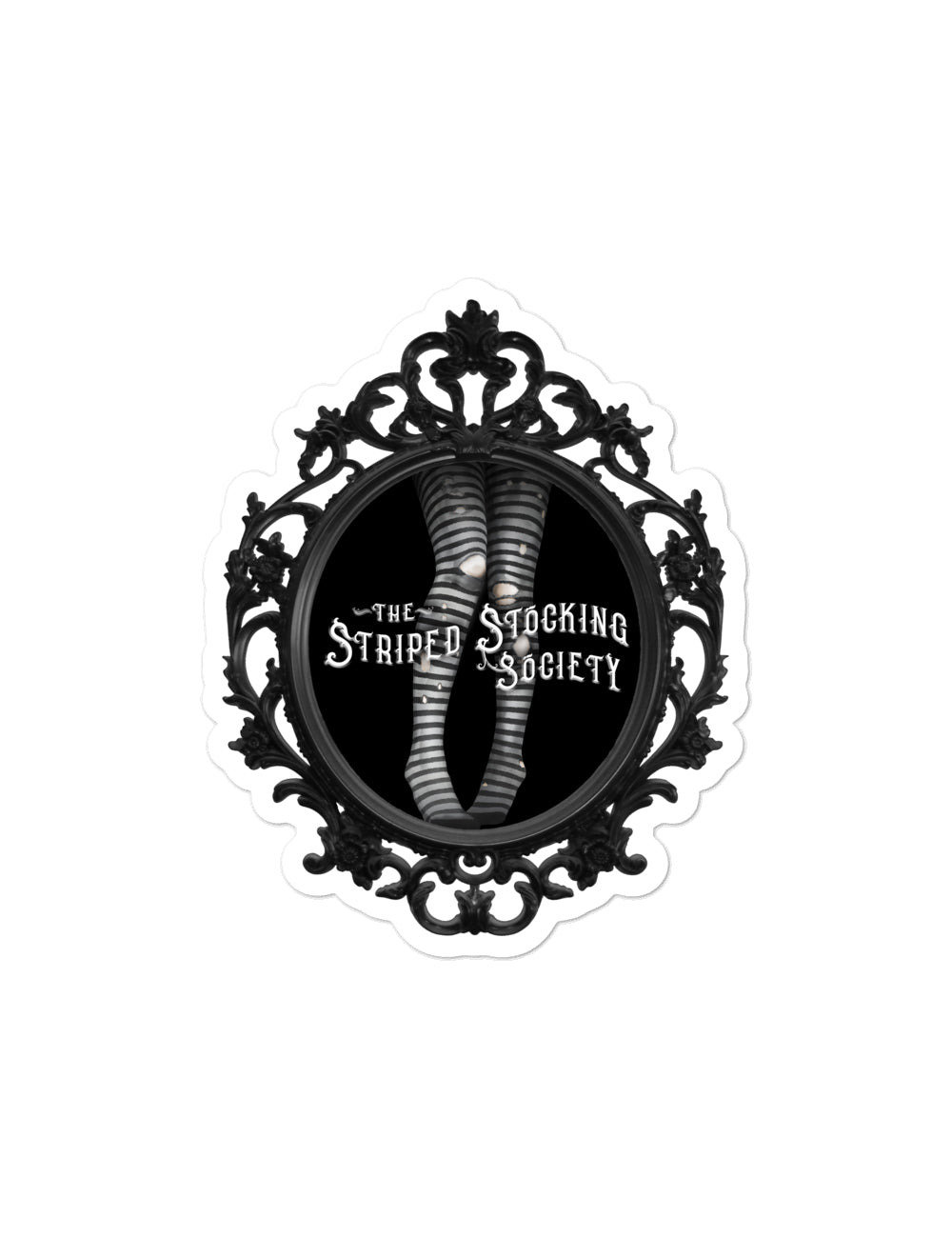 """Striped Stocking Society"" Vinyl Sticker - The Asylum Emporium"