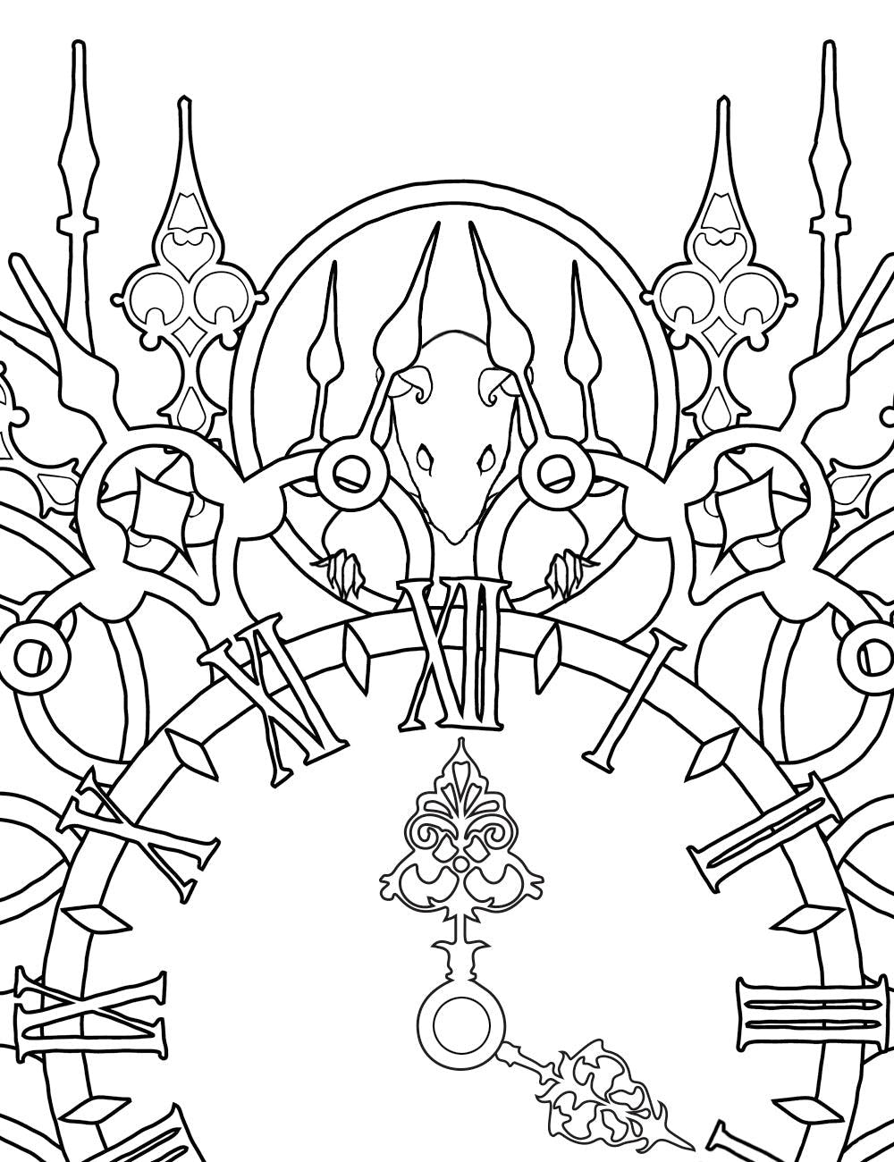 Asylum Coloring Book Page: Rat Clock