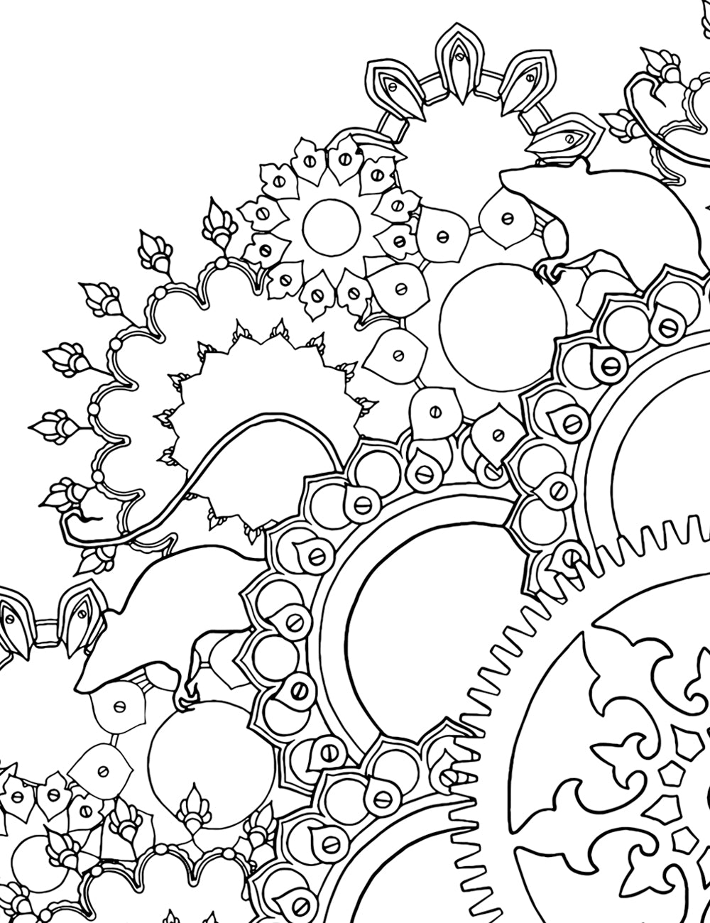 Asylum Coloring Book Page: Rat Mandala