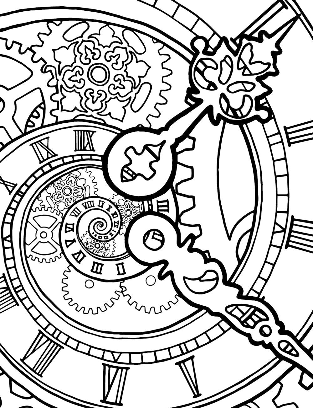 Asylum Coloring Book Page: Spiral Clock