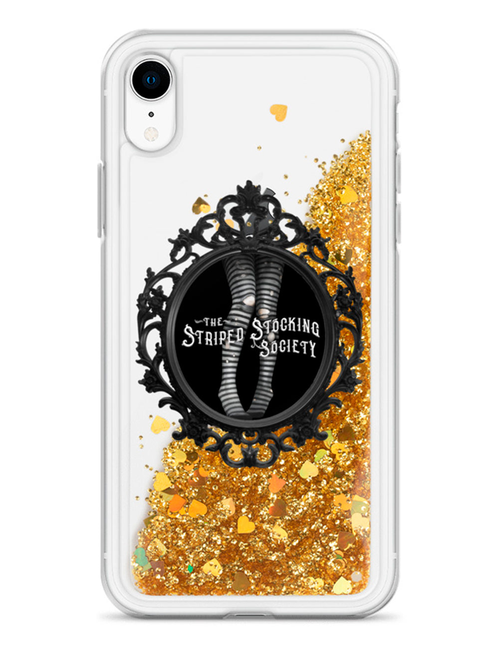 Striped Stocking Society Liquid Glitter iPhone Case - The Asylum Emporium