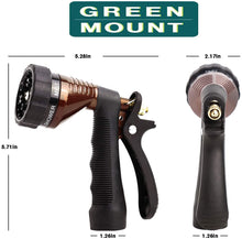 Load image into Gallery viewer, GREEN MOUNT Metal Garden Hose Nozzle with Adjustable Spray Patterns (Bronze)