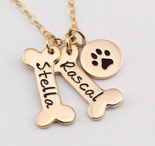 Personalized Charm Dog Bone Necklace w/ Paw Print