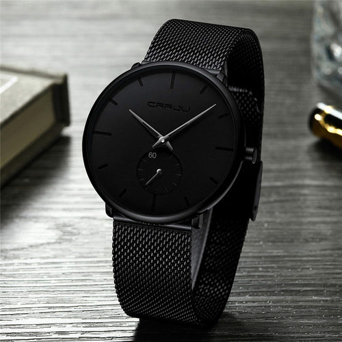 Ultra Thin Creative Black Stainless steel Quartz Watches Men Simple Fashion Business