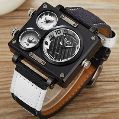 2019 OULM Luxury Quartz Mens Watch w/ Marine Canvas Strap Square Dial & Multiple Time Zones