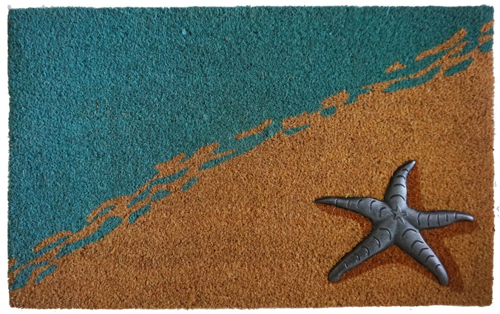 Seaside Mat, Blue/Nat, 17.7x29.5 inches, 1.5 cm thick, Rubber Flocked Silver Finish - My Country Home and Garden