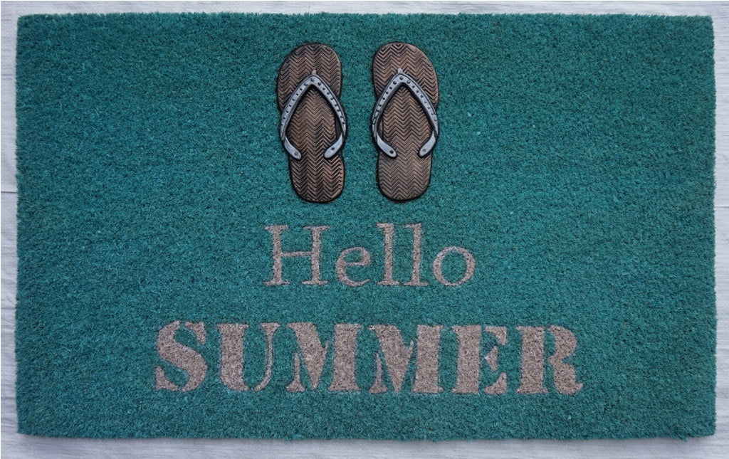 HELLO SUMMER Flip Flop Mat, 17.7x29.5 inches, 1.5 cm thick, Rubber Flocked Copper/Silver Finish - My Country Home and Garden