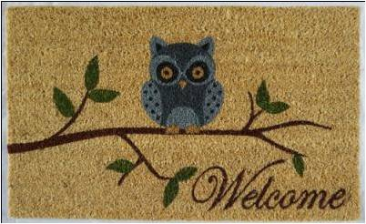 "WELCOME Owl Mat, 18x30x1"", 100% coir no backing - My Country Home and Garden"