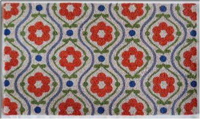 WELCOME Mat,  Red Floral , 1.5x2.5 ft, 17.7x29.5 inches, 1.5 cm thick - My Country Home and Garden