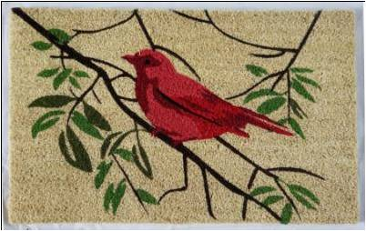 Red Bird Mat, 1.5x2.5 ft, 17.7x 29.5x 1 inches, 100% Coir, no backing - My Country Home and Garden