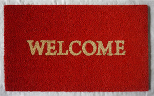 WELCOME Mat, Rust Red - iDekor8