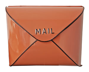 Terracotta Envelope Mailbox w/ Black Rim,12.5x5x10 Inches - iDekor8