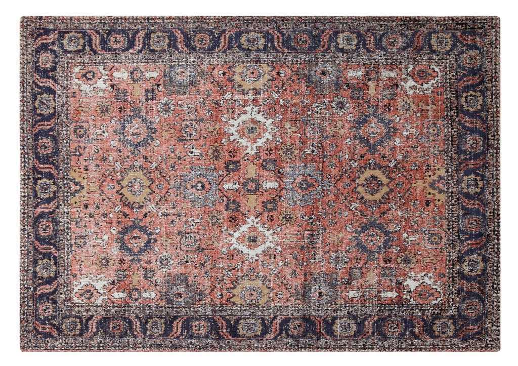 Anatolia Rust Carpet, 4x6  100 % Cotton, machine woven, 200gm/sqf India - My Country Home and Garden