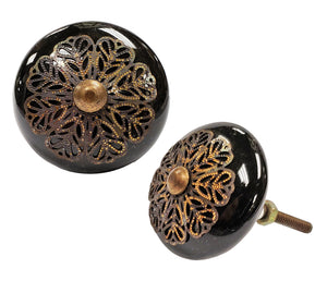 Damian Knob, Black, Ceramic, Set of 12