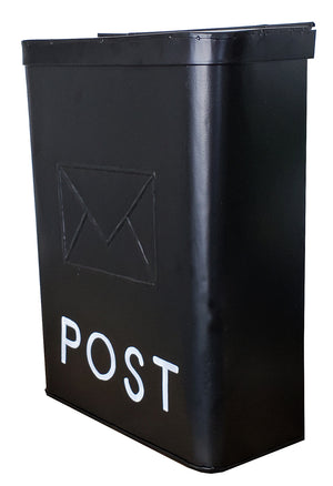 Serena Galvanised POST Mailbox Black, 10.5 x 4.25 x 14.25 inches - My Country Home and Garden