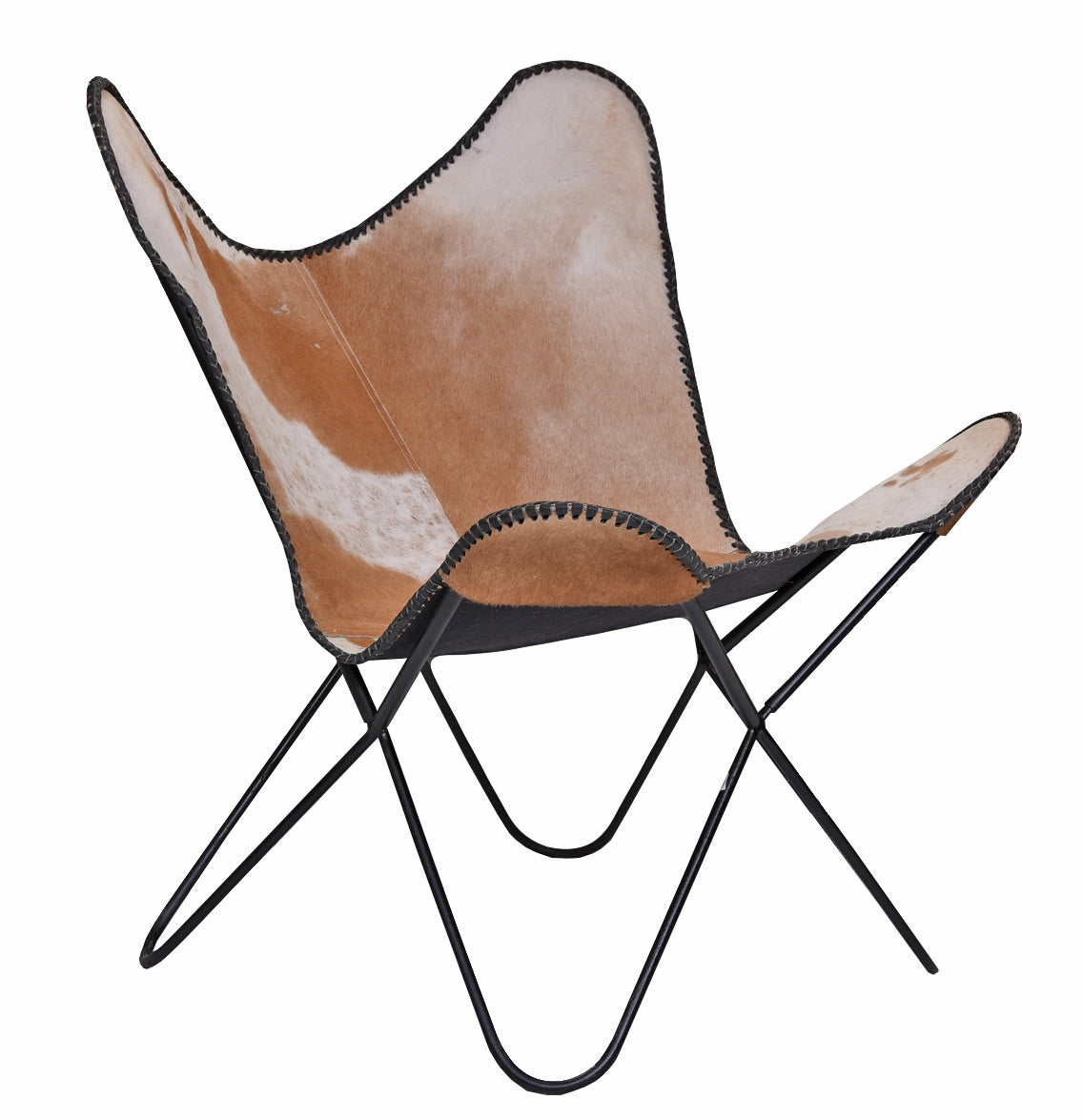 Butterfly Chair Cow Hide, Brown, Set of 2