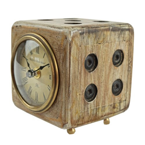 Distressed Finish Wooden Dice Clock