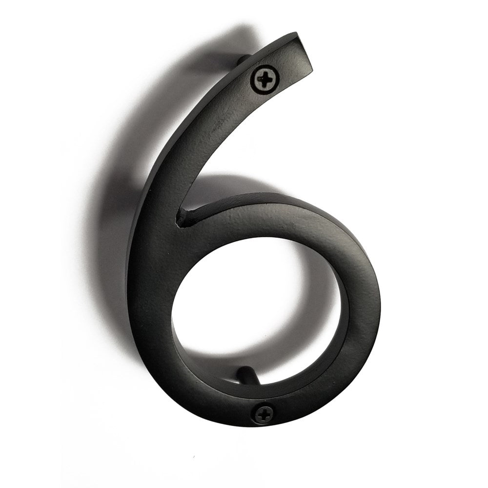 Aluminum number 6- 6inch black - My Country Home and Garden