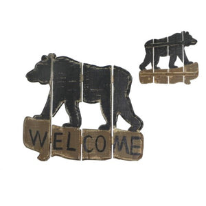 """Welcome"" Wooden Black Bear Sign"