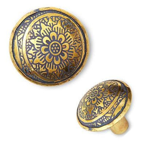 Engraved Brass Knob Blue
