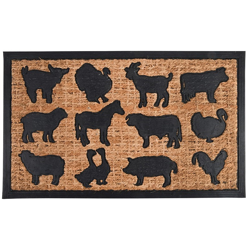Rubber/Coir Farm Animals Doormat