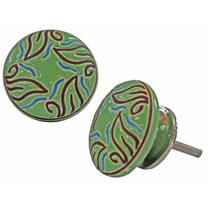 Leaf Circlular Knob, Green, Ceramic - My Country Home and Garden